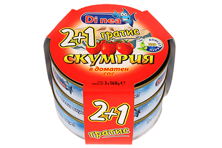 Mackerel in tomato sauce 2+1 3х160g.