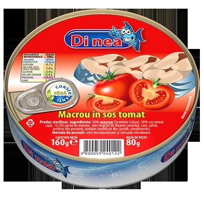 Macrou în sos tomat 160g.